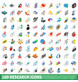 100 research icons set isometric 3d style vector image vector image