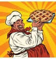 African American or Latino cook with a berry pie vector image vector image