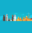 arab family over muslim cityscape nabawi mosque vector image