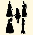beautiful women silhouette vector image vector image