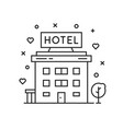 black thin line hotel simple icon vector image