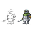 cartoon medieval confident knight with sword vector image vector image