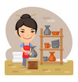 cartoon woman potter vector image vector image