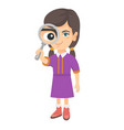 caucasian girl looking through a magnifying glass vector image