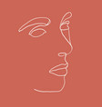 continuous line drawing woman face vector image vector image