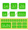 countdown timer with green flat numbers isolated vector image vector image