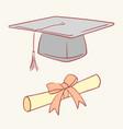diploma graduation academic cap hand drawn style vector image