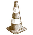 engraving traffic cone vector image vector image