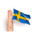 finger with sweden flag vector image vector image