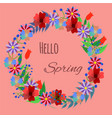 floral wreath on coral background vector image