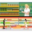 Food store interior flat style vector image