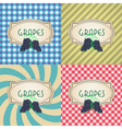 four types of retro textured labels for red grapes vector image
