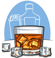 glass of scotch whiskey and ice vector image vector image