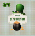 green hat two leaf clover pot with coins happy vector image vector image
