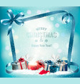 holiday christmas background with presents vector image vector image