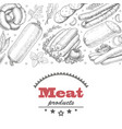 horizontal background with meat products vector image vector image