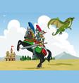 knight vs dragon vector image vector image