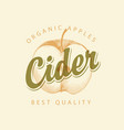 label for cider with apple and inscription vector image vector image