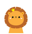 lion king face head icon cute kawaii animal vector image vector image