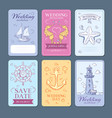 marine sea voyage wedding invitation cards vector image vector image