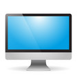 monitor with blue screen and shadow on white vector image