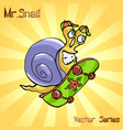mr snail with skateboard vector image vector image