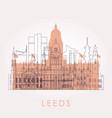 outline leeds skyline with landmarks vector image