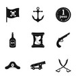 pirates element icon set simple style vector image vector image