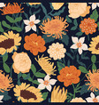 seamless floral pattern with fall flowers endless vector image
