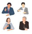 set business people sitting vector image
