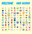 set of 100 flat web icons on following themes vector image vector image
