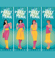 set of vertical invitations with toasting girls vector image