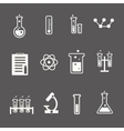 Set of white science and research icons on a grey vector image
