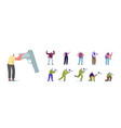 set people with hand gun male female vector image