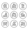 set round line icons of machine tool vector image vector image