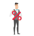 smiling groom holding percent sign vector image vector image