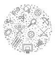sport outline symbols concept vector image
