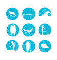 stand up paddling silhouette icon set in vector image vector image