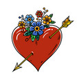 tattoo heart pierced with gold arrow tattoo vector image vector image