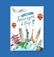 tourism day poster design a globe with castle vector image vector image