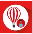 travel woman air balloon red and white design vector image vector image