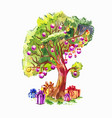 tree with a large round crown decorated in the vector image vector image