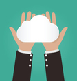 Two hands holding paper clouds Cloud computing vector image vector image