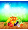 vegetables on wooden table with sky background vector image vector image
