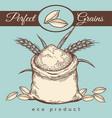 wheat flour bag vintage emblem vector image vector image