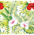 white red hibiscus plumeria green plants seamless vector image vector image