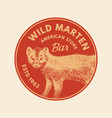 wild animals stickers in vintage style forest or vector image