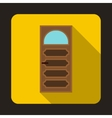 Wooden door with an arched glass icon vector image vector image