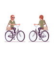 young red-haired man riding a bicycle vector image
