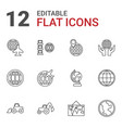 12 earth icons vector image vector image